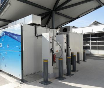 Sie solare Wasserstofftankstelle in Freiburg.