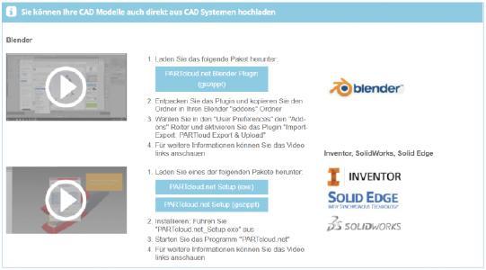 Kostenloses Plugin für die 3D Grafiksoftware Blender erleichtert Export und Upload von 3D Modellen in PARTcloud.net