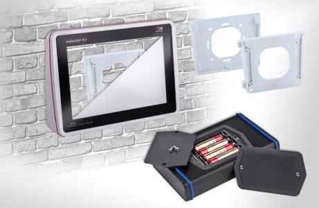 Elektronikgehäuse-Zubehör: Wandbefestigung nach dem VESA-Standard und Batteriefächer für den universellen Einsatz