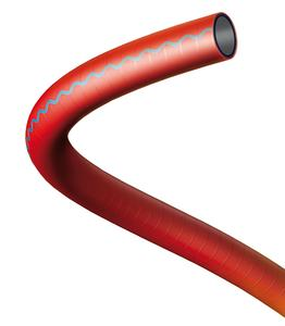 The AQUAPAL® DB is hygienic, clean, highly flexible, sturdy and specially developed for the needs of railway systems. Thanks to its red jacket with the blue wavy line, the drinking water hose is unmistakable / Photo: ContiTech