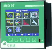 Das UMD 97 ist ein leistungsfähiges Fronttafeleinbaumessgerät* und ersetzt alle Analogmessgeräte. Es misst 3-phasig Strom und Spannung im 4-Quadrantenbetrieb in Klasse 0,2 und damit die Arbeit in Klasse 0,5s sowie alle üblichen Netzgrößen, z.B. Oberschwingungen bis zur 50. Harmonischen. Es kann über Stromwandler mit N/5 A und N/1 A sowie über Rogowskispulen (333 mV) angeschlossen werden. Es bildet die Netzqualität nach EN 50160, EN 61000-2-2, EN 61000-2-4, EN 61000-2-12 ab.