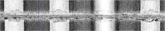 Mikro-CT Aufnahme einer Membran-Elektroden-Einheit in einer Kanalstruktur mit definiertem Anpressdruck zur Materialoptimierung.