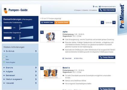 Screenshot pump-guide Eingabemaske