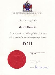Ernennungsurkunde von Oliver Knittel zum FCII