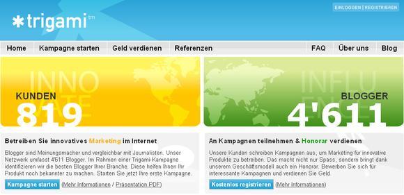 trigami screenshot homepage