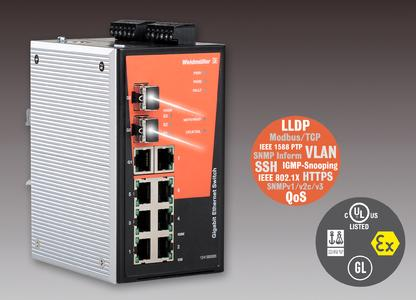 Weidmüller managed Gigabit Ethernet switches: High-performance Gigabit switches for industrial communication applications with Gigabit Ethernet ports and Fast Ethernet ports for copper and glass fibre