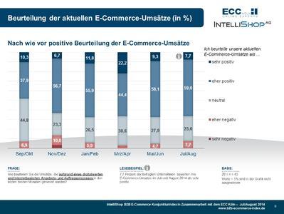 B2B E-Commerce Konjunkturindex - Beurteilung E-Commerce Umsätze