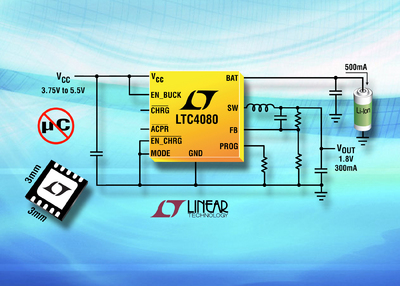 500mA Standalone Li-Ion Battery Charger plus Synchronous Buck Converter in 3mm x 3mm DFN