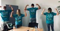 v.l. Benjamin Fielitz, Laura Röhling, Ron Boes und Irina Schwert machen sich gemeinsam stark für eine durchschlagende Customer Experience mit SAP Qualtrics