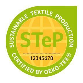 """""""Sustainable Textile Production (STeP) by OEKO-TEX"""" ist ein Zertifizierungssystem für Marken, Handelsunternehmen und Hersteller der textilen Kette, die ihre Leistungen in Bezug auf nachhaltige Produktionsbedingungen transparent, glaubwürdig und leicht verständlich nach außen kommunizieren möchten. Die Zertifizierung ist für Produktionsbetriebe aller Verarbeitungsstufen von der Faserherstellung über die Spinnerei und Weberei/Strickerei bis hin zu Veredlungsbetrieben und Konfektionären möglich. www.oeko-tex.com/step"""