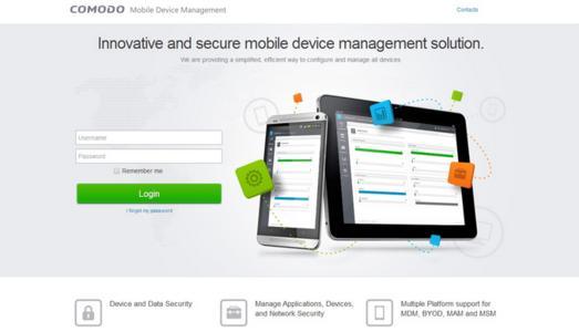 Anmeldemaske des COMODO Mobile Security Managers 3.0
