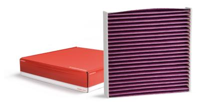 Biofunctional cabin filter for clean air in the vehicle
