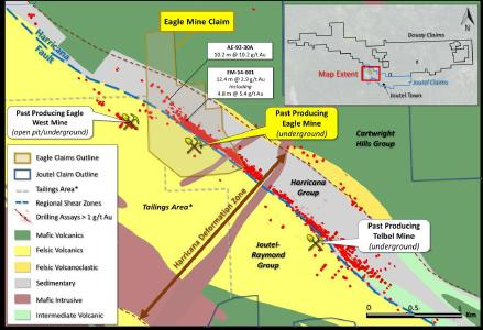 Plan view on regional geology base map showing location of the Eagle Mine claim along with select past drill results and locations of other mines in the former Eagle-Telbel gold operation. *Tailings area represents claims including tailings and settling ponds with associated liabilities which is excluded from the JV.