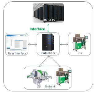 Biobank 4.0 Exemplarischer Aufbau einer automatischen Biobank mit verschiedenen Standorten, einem zentralen Server und der Anbindung an eine bestehende IT-Infrastruktur