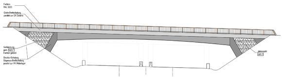 Ansicht einer feuerverzinkten Brücke über der A44 (Zeichnung: DEGES)