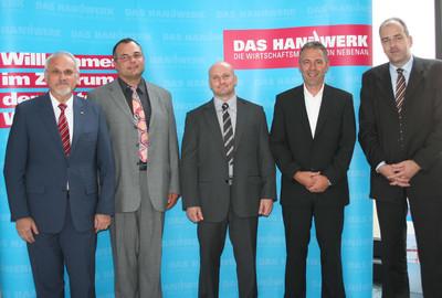 v.l. Präsident Walter Tschischka, Erich Bundschuh, André Croissant, Uwe Wiesendanger und stv. Hauptgeschäftsführer Jens Brandt