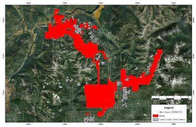Satellitenaufnahme mit Angabe des Grundbesitzes von Ximen im Gebiet Nelson-Salmo