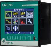 UMD 98 – Messtechnik für den Schalttafeleinbau Das UMD 98 ist ein hochleistungsfähiges Fronttafeleinbaumessgerät* und ersetzt alle Analogmessgeräte. Es misst 3/4-phasig Strom und Spannung im 4-Quadrantenbetrieb in Klasse 0,2 und damit die Arbeit in Klasse 0,5s sowie alle üblichen Netzgrößen, z.B. Oberschwingungen bis zur 50. Harmonischen. Das Gerät wird über Stromwandler mit N/5 A und N/1 A  angeschlossen. Es bildet die Netzqualität nach EN 50160, EN 61000-2-2,  EN 61000-2-4, EN 61000-2-12 ab.