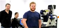 Dr Peter Dunstan (left) together with two members of his research group; PhD students, Katie Welsby and Adam Williams