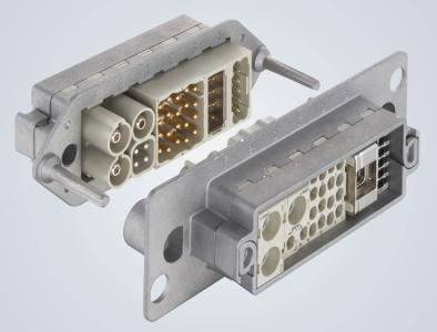 Han-Modular® Andockrahmen Metall: Die langen voreilenden Führungsstifte bringen beide Seiten der Schnittstelle sicher zueinander.