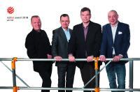 Das AluFix® EVO Entwicklungsteam  (v.l.n.r.) Reijo Taalikka, Leiter Produktentwicklung, Icontec Oy Juha Korkeila, Leiter Finanzen, Business Finland Vesa Samela, CEO, Alupro Oy Sven Wiese, Export Vertriebsleiter, Alupro Oy
