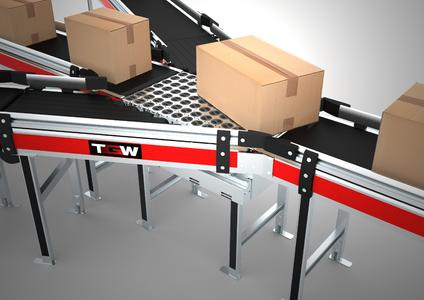 TGW's new High Performance Transfer handles up to 6000 cartons per hour with very different sizes. Source: TGW Logistics Group GmbH