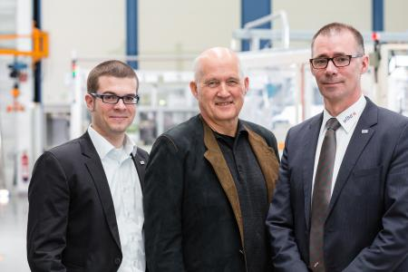 The management board (from left to right) Wilhelm Hahn, Wilfried Hahn and Ronny Lindskog are delighted to receive this honourable distinction and what it represents – their company belongs to Germany's innovative elite