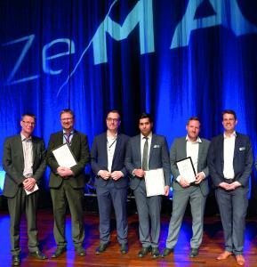 Solemne entrega de premios (de izda. a dcha.): Rainer Müller (ZeMA gGmbH), Ralf Müller-Polyzou y Steffen Gärtner (LAP), Attique Bashir, Martin Karkowski y Leenhard Hörauf (ZeMA gGmbH) (Fuente: ZeMA – Zentrum für Mechatronik und Automatisierungstechnik gGmbH)