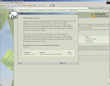 Screenshot across2web Download übersetztes Dokument