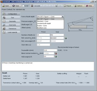 eAssistant calculation module for straight and helical bevel gears