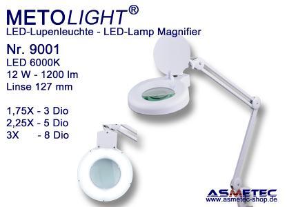 12 Watt, 60 Premium SMD-LEDs, 1200lm, kratzfeste Glaslinse Ø 127 mm, 3 / 5 / 8 Dioptrien