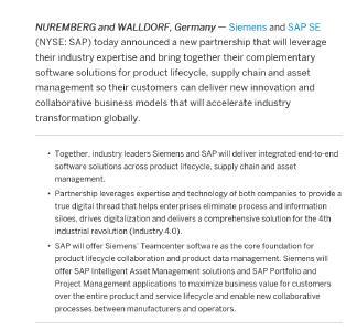 Abbildung 1: SAP Announcement Siemens und SAP Kooperation  Vollständiger Text: https://news.sap.com/2020/07/siemens-and-sap-accelerate-industrial-transformation/
