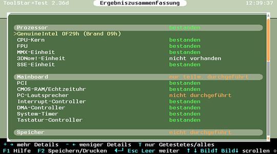 Zusammenfassung der Prüfergebnisse bei toolstar*testOS