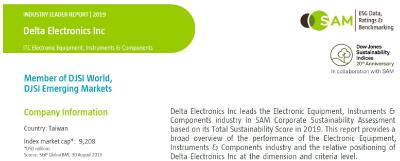 Delta's ESG Performance Again Leads in the 2019 Dow Jones Sustainability Indices for the Electronic Equipment, Instruments and Components Industry