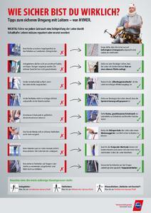 Dieses Plakat von Steigtechnikprofi Hymer-Leichtmetallbau mit Tipps zum richtigen Umgang mit Leitern kann kostenfrei über info@hymer-alu.de bestellt werden