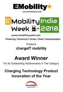 Der Award für chargeIT mobility für herausragende Leistungen in der Kategorie Ladetechnologie Produktinnovation des Jahres