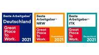 """Wettbewerbslogos """"Deutschlands Beste Arbeitgeber"""", """"Beste Arbeitgeber in der ITK"""" und """"Beste Arbeitgeber NRW"""""""