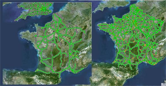 Informationen zur Verkehrslage in Frankreich – mit und ohne FCD-Daten, die mit PTV-Technologie visualisiert werden.