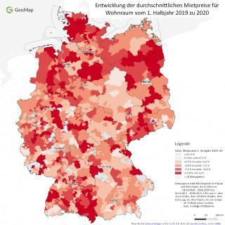 Entwicklung der durchschnittlichen Mietpreise für Wohnraum vom 1. Halbjahr 2019 zu 2020