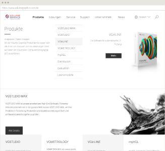 Volume Graphics Website Desktop Ansicht Menü