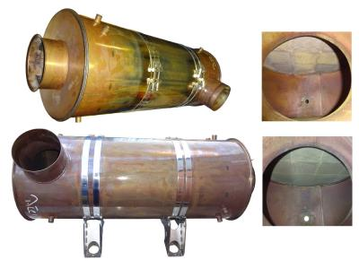 Diesel particulate filter of a locomotive before and after cleaning