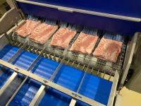 Um die Schweinbäuche stets nach denselben Parametern pressen und verpacken zu können, werden sie zuvor rundum angefrostet. Das hier wirkende Impingement-Verfahren beschleunigt die Kaltluft bei -35°C auf 40 m/s und bläst sie von oben und unten homogen über das Produkt. Foto: Dantech Freezing Systems, Bissendorf