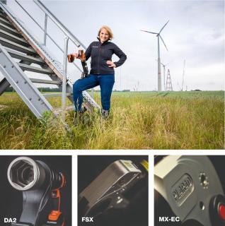 Mit unseren hydraulischen und Akku-betriebenen Drehschraubern stehen Sie allzeit fest im Wind: Unsere Managerin Market Communication Petra Hemming leiht dem Umweltwirtschaftspreis.NRW Ihr Gesicht