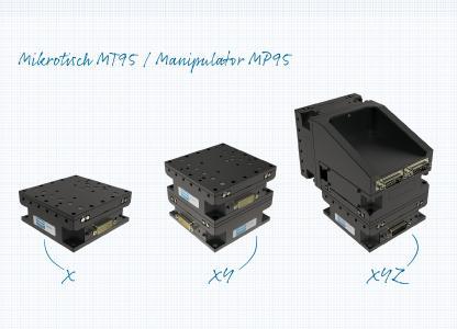 Der neue Mikrotisch MT95 (links im Bild) von Steinmeyer Mechatronik lässt sich unkompliziert zu einem 2- bzw. 3-Achssystem kombinieren. Rechts im Bild: Der Manipulator MP95, der aus drei MT95 besteht