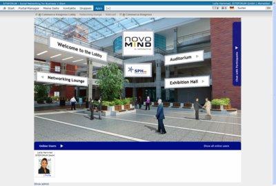 Die Lobby einer virtuellen Messe