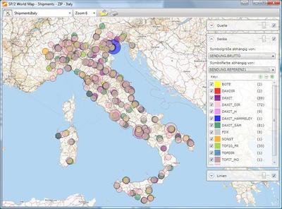 Frachtkostenanalyse in SCALA, Distribution Italien (Bildquelle: Städtler-Logistik)