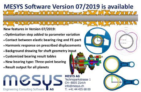 Neuheiten in der Version 07/2019 der MESYS Berechnungssoftware