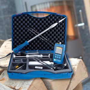 The new AFRISO moisture measurement instrument MFM 20 measures the moisture or water content of 466 wood types as well as pellets, wood chips, screed, plaster, concrete, gypsum or brickwork