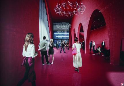 """Visualisierung des Entwurfs der Architekten Marte.Marte: Das """"Rote Foyer"""" (Bildnachweis: Marte.Marte Architekten ZT GmbH)"""
