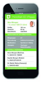App Screen des digitalen Notfallpasses